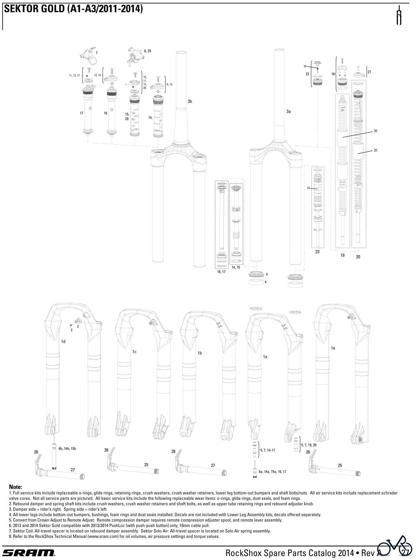 RockShox Crown Adjust TK Damper for 80-150mm travel Sektor Gold//Recon